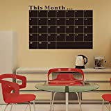 Fashion Designed Removed Vinyl Monthly Calendar Blackboard Sticker Working Calendar Vinyl Blackboard Wall Sticker