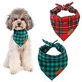 Gwolf Bandana para Perros, pañuelo Perro a Cuadros, Tela Escocesa de Bandana para Perros y Mascotas, Bufanda Triangular Ajustable Reversible Lavable para Perro Gato Mascota, 2 Piezas