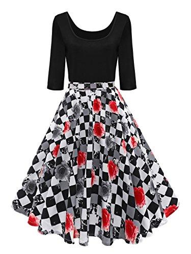 (Babyonlinedress® Elegang Damen Vintage Retro Rockabilly Kleid 50er 60er Jahre A Linie Tanzkleider Ballkleider Brautjungfernkleid Geblümt M)