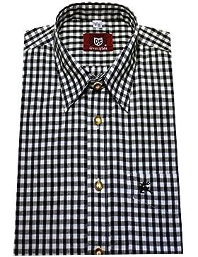 Trachtenhemd schwarz weiß kariert Orbis 0062 bequemer Schnitt Größe M bis 3XL