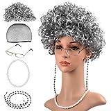 Beelittle Old Lady Costume Grand-mère Cosplay Accessoires Set - Granny Perruque Wig Cap Lunettes Lunettes Chaînes Strap Pearl Collier - 5 Pièces