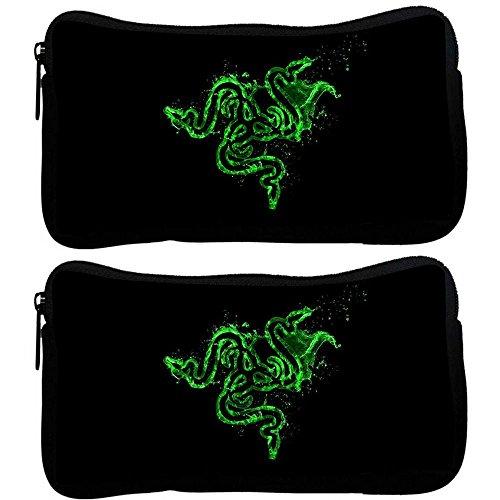 Preisvergleich Produktbild Snoogg 2Stück grün Razer Logo Designer Poly Leinwand Student Pen Bleistift Fall Münzfach Tasche Kosmetik Make-up Tasche