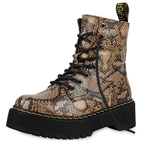 SCARPE VITA Damen Worker Boots Plateau Stiefeletten Leder-Optik Stiefel 175104 Hellbraun Snake 39 Snake Boots