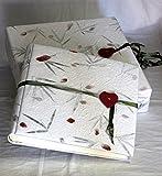 Set Album Hochzeit groß mit Schatulle 35x 35Papier Baumwolle mit Blütenblätter Fotos Hochzeit Geschenk Jahrestag weiß mit Knopf rot Herz Band Salbei Liebe weiß