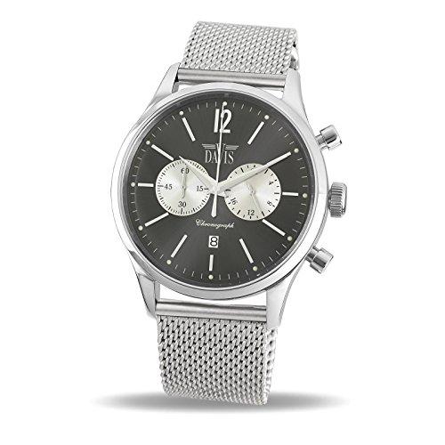 Davis 1750MB - Mens Sport Watch Vintage Chronograph Sunray Grey Dial Mesh Milanese Strap