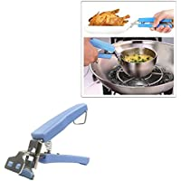 Gudhi - Extractor de plato antideslizante de acero inoxidable con clip para cuenco (azul)