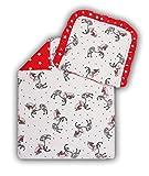 Amilian® Kinderwagenset Baby Bettwäsche Garnitur für Kinderwagen Kissen Decke Füllung Pferd/Sternchen rot (2 tlg.)