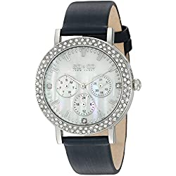 So & Co New York Madison Women's Quartz Watch with Mother of Pearl Dial Analogue Display and Blue Leather Strap 5216L.2