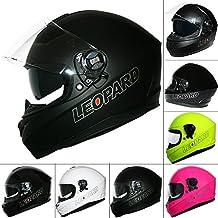 Leopardo LEO-828 Doble Visera De Sol Cara Completa Moto Motocicleta Accidente Casco Negro mate M