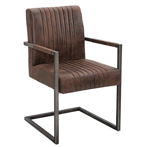 Invicta Interior Freischwinger Stuhl Big Aston mit gebürstetem Eisengestell Vintage braun mit Hohem Sitzpolsteraufbau im Roadster Design