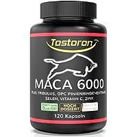 Tostoron MACA 6000 Kapseln - VERGLEICHSSIEGER 2018* - HOCHDOSIERT plus Tribulus, Pinienrindenextrakt, Vitamin C, Selen, Zink - LABORGEPRÜFT ohne Füll- und Trennmittel, 120 Kapseln, 1 Dose (1 x 100 g)