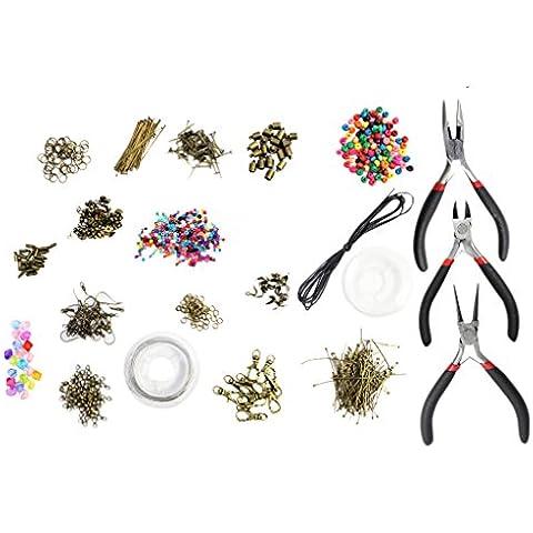 Set de lujo de 1000 piezas con herramientas, piezas, cuentas, cordel, alambre, y accesorios en chapa de bronce por Kurtzy