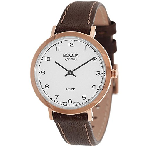 Boccia Damen Analog Quarz Uhr mit Leder Armband 3246-04