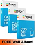 Polaroid Originals 600 pellicule Couleur Lot de 3 (24 photos) + Gratuit mural Album.