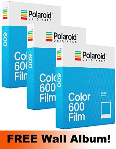 Polaroid Originals 600Farbfilm, 3er-Pack (600Aufnahmen) + Gratis Wandalbum.