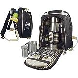 Picknickrucksack 6660 - Mochila de picnic para dos personas (poliéster, con compartimento refrigerado), color negro