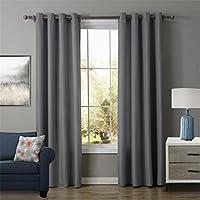 CHUANGLIAN Cortinas de ventana plata gris Oxford paño simple suave ruido aislamiento sombreado protección privacidad dormitorio salud ambiental , 52X84inch