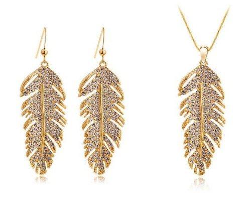 Collana del pendente di cristallo della piuma donne e orecchini dei monili del 18K oro placcato 18 pollici a colori oro - Piuma E Collana