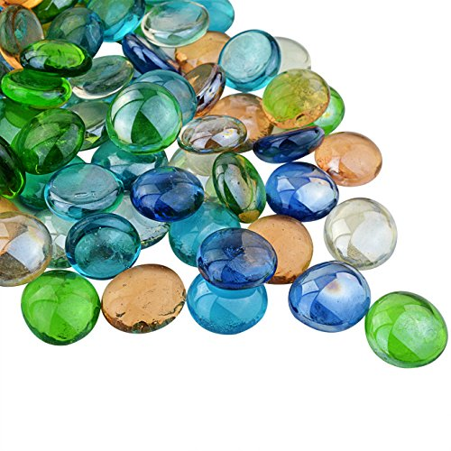 100-approx-aquarium-decoration-stone-ishua-mixed-colour-round-decorative-glass-pebbles-stones-beads-