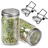 Yemiany tarro de germinar,Germinador,Kit de 2 tarros de germinación con tapas de acero inoxidable,soportes y germinador de tarros de vidrio Mason para cultivar brotes de microgreens,alfalfa,frijoles