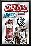 empireposter - Route 66 - Motel - Größe (cm), ca. 20x30 - Bedruckter Spiegel, NEU - Beschreibung: - Bedruckter Wandspiegel mit schwarzem Kunststoffrahmen in Holzoptik -