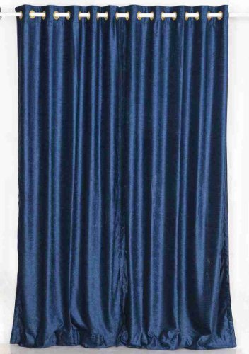 Navy Blue Ring / Grommet Top Velvet Curtain / Drape / Panel   43W X 84L    Piece