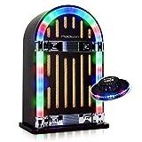 Madison Jukebox Vintage Autonome avec Bluetooth JUKEBOX10 + Jeu de lumière OVNI RVB