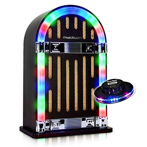 Jukebox Vintage autonom mit Bluetooth-Madison Jukebox10+ Lichtorgel Ovni RGB. -
