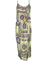 Mevina Damen Kleid Gipsy Hippie Paisley Blumen Flower Muster Baumwolle Sommer lang Sommerkleid süßes Urlaubskleid