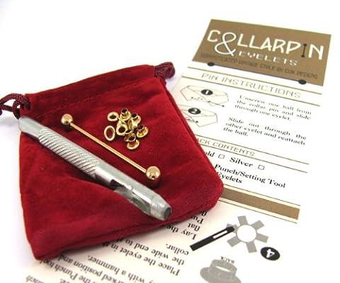 Gold Tone Collar Pin DIY Shirt Conversion Kit - Collar Bar plus 10 Eyelets & Punch by CUK Designs