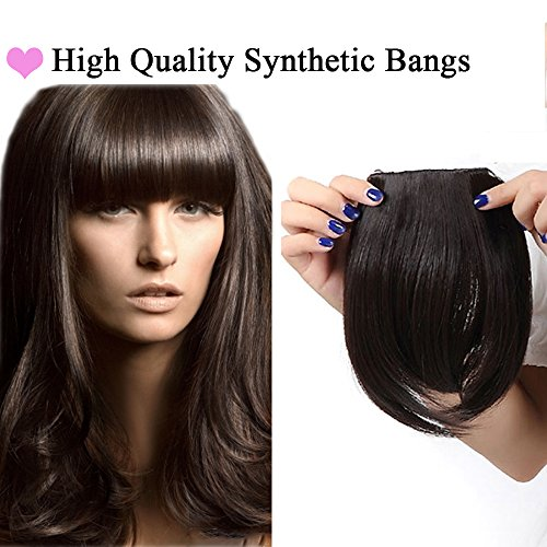 Extension frangia capelli bangs hair clip one piece frangetta corta frontale capelli lisci 30g marrone scuro