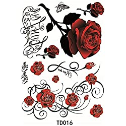EQLEF Rosas Rojas Etiqueta engomada del Tatuaje Temporal Etiqueta para Las Muchachas del Brazo del Tatuaje Etiqueta engomada del Tatuaje del Muslo Impermeable Atractiva