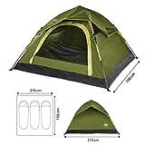 Lumaland Outdoor leichtes Pop Up Wurfzelt 3 Personen Camping robust verschiedene Farben Grün - 3