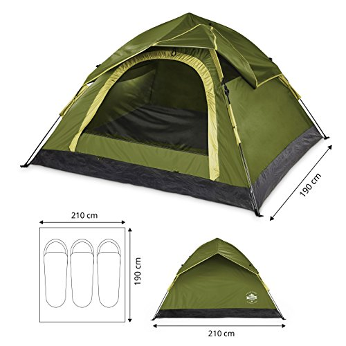 Lumaland Outdoor leichtes Pop Up Wurfzelt 3 Personen Zelt Camping Festival etc. 210 x 190 x 110 cm robust Grün - 4