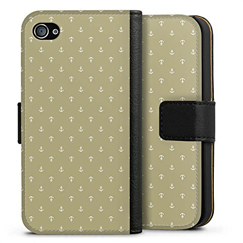 Apple iPhone X Silikon Hülle Case Schutzhülle Anker Muster Vintage Sideflip Tasche schwarz