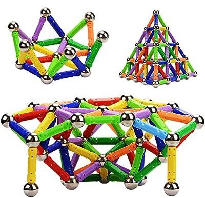 Morkka Palos magnéticos, Palos magnéticos y Bolas Set 136PCS, Palos de construcción magnéticos, Juguetes magnéticos de construcción, Juguetes magnéticos Palos Juguetes educativos para niños de Morkka