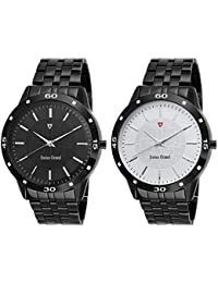 Swiss Grand Black Stainless Steel Strap Analogue Watch For Men Pack Of-2 (SG-1189)