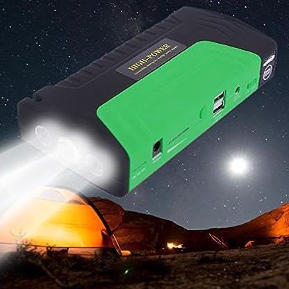 51AERGZxTNL. SS416  - Cnmodle - Batería de emergencia y arrancador portátil para coche, 400 A, 15000 mAh, batería externa con linterna de 3 LED, y USB doble para cargar el móvil, para iPhone, Samsung, iPad, Tablet, Sony, MP3 / MP4 y más