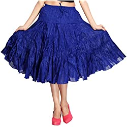 Carrel Cotton Fabric Women Broomstick Short Skirt(AGSPL-3012-SK-03-BLUE-FREE)