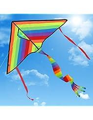 Riesiger Drachen   Satu Brown Regenbogen Einleiner Drachen Drachenflieger inkl. 80m Drachenschnur für Kinder, Erwachsene und Familien   Einfach zu Fliegen bei Starkem Wind oder Leichter Brise   Leicht und Stabil   100% Geld-zurück-Garantie