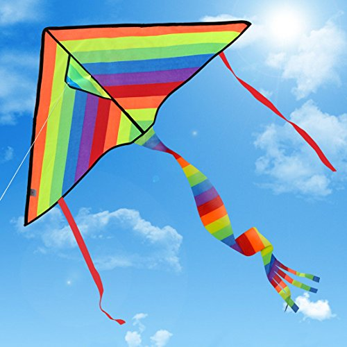 Huge Colorful Kite for Kids and Adults | Best Outdoor Toys for Family Games | Have Fun to Fly Rainbow Kites this Summer from Satu Brown | Enhance Connection with Children | Ideal Gift | 262ft Flying String | 100% Infinity Guarantee