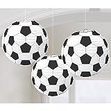 Amscan 240178 - Hängedekoration, Lampions Fußball, 3 Stück, ca. 24 cm - 2