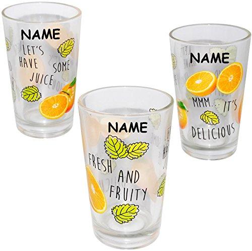 alles-meine.de GmbH 12 tlg. Set - Trinkgläser -  Orangen & Früchte  - Incl. Name - 310 ml - aus ..