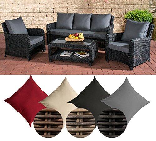 CLP Poly-Rattan Garten Loungemöbel Set SAN FERNANDO, ALU-Gestell (3er Sofa, 2 Sessel + Lounge-Tisch 100 x 55 cm) Rattan Farbe schwarz, Bezugfarbe: Eisengrau