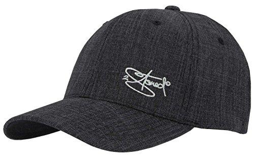 2Stoned Flexfit Cap Fine Melange in Schwarz mit Stick, Größe S/M (56 cm - 58 cm), Basecap für Damen und Herren