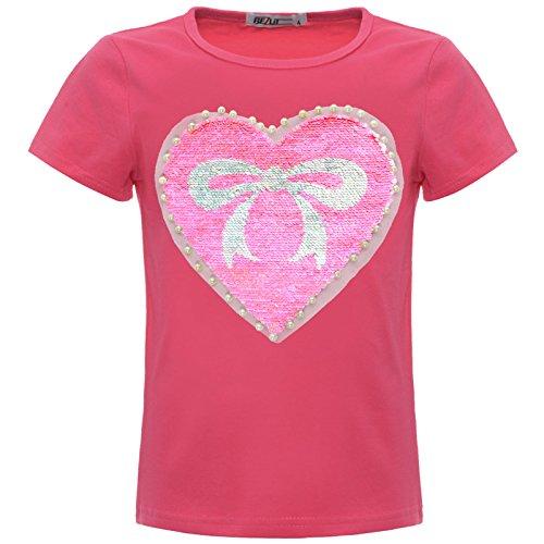 BEZLIT Mädchen Wende-Pailletten Herz Schleife T-Shirt Outfit Oberteile 22534 Pink Größe 104 Oster-outfit