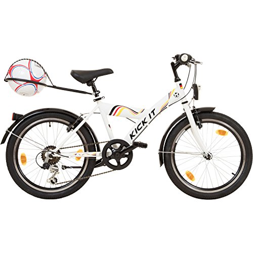 KICK IT 20 Zoll Jugendfahrrad MTB mit Ballhalter und inklusive Verschiedene Dekors Fußball Fahrrad Kinder
