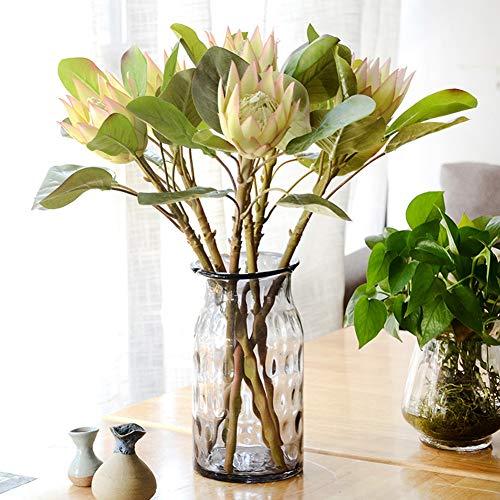 Gracorgzjs 1 Stück King Protea Kunstpflanze DIY Hochzeit Bouquet Party Decor Künstliche Blumen Hellviolett