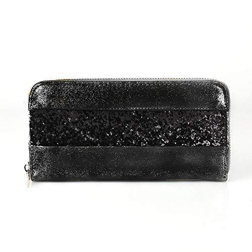 Treend24 Elegant Damen Geldbörse mit 1 Hauptfach Reißverschluss Glitzer Portemonnaie Geld Beutel Metallic Börse Brief Tasche (Schwarz)