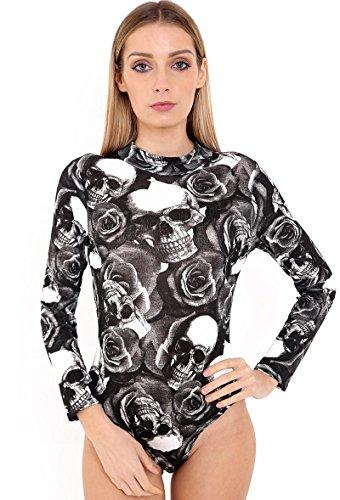 WearAll - Justaucorps à manches longues avec un col roulé - Hauts - Femmes - Tailles 36 à 42 Skull and Roses